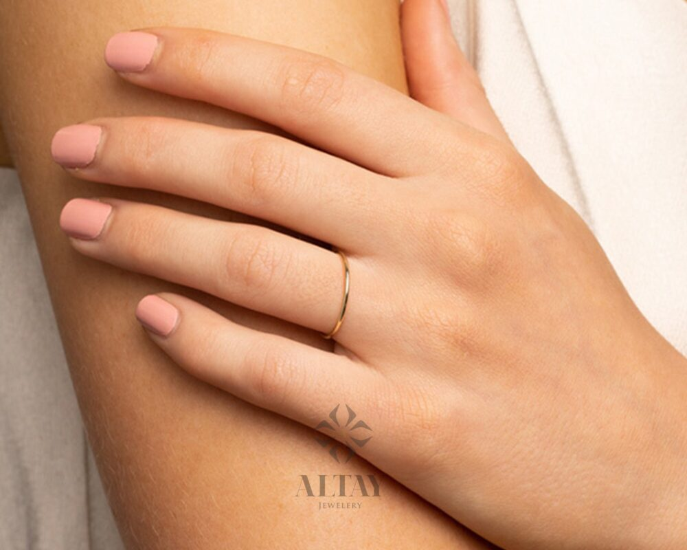 14K Solid Gold Thin Plain Wedding Band, Tiny Light Ring, Gift For Her, Stackable Ring, Dainty Promise Engagement Delicate