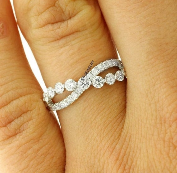 Infinity Wedding Band 14K White Gold, Twisted Shank Moissanite Eternity Band, Delicate Unique Micro Pave Set Dainty Stacking Promise