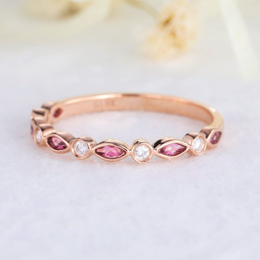 Pink Tourmaline Wedding Band Cz Diamond 14K Rose Gold Sterling Silver Unique Art Deco Marquise Stacking Bridal Anniversary Gift Promise Ring
