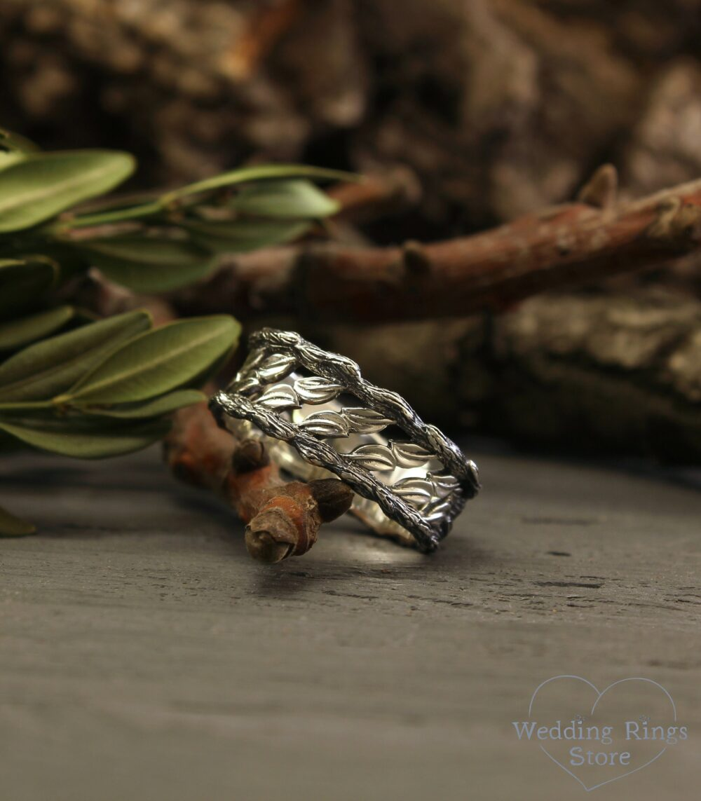 Unique Nature Wedding Band, Tree & Leaves Silver Ring, Woodbark Man's Woman's Twig Leaf 9mm Durable Unusual Gift