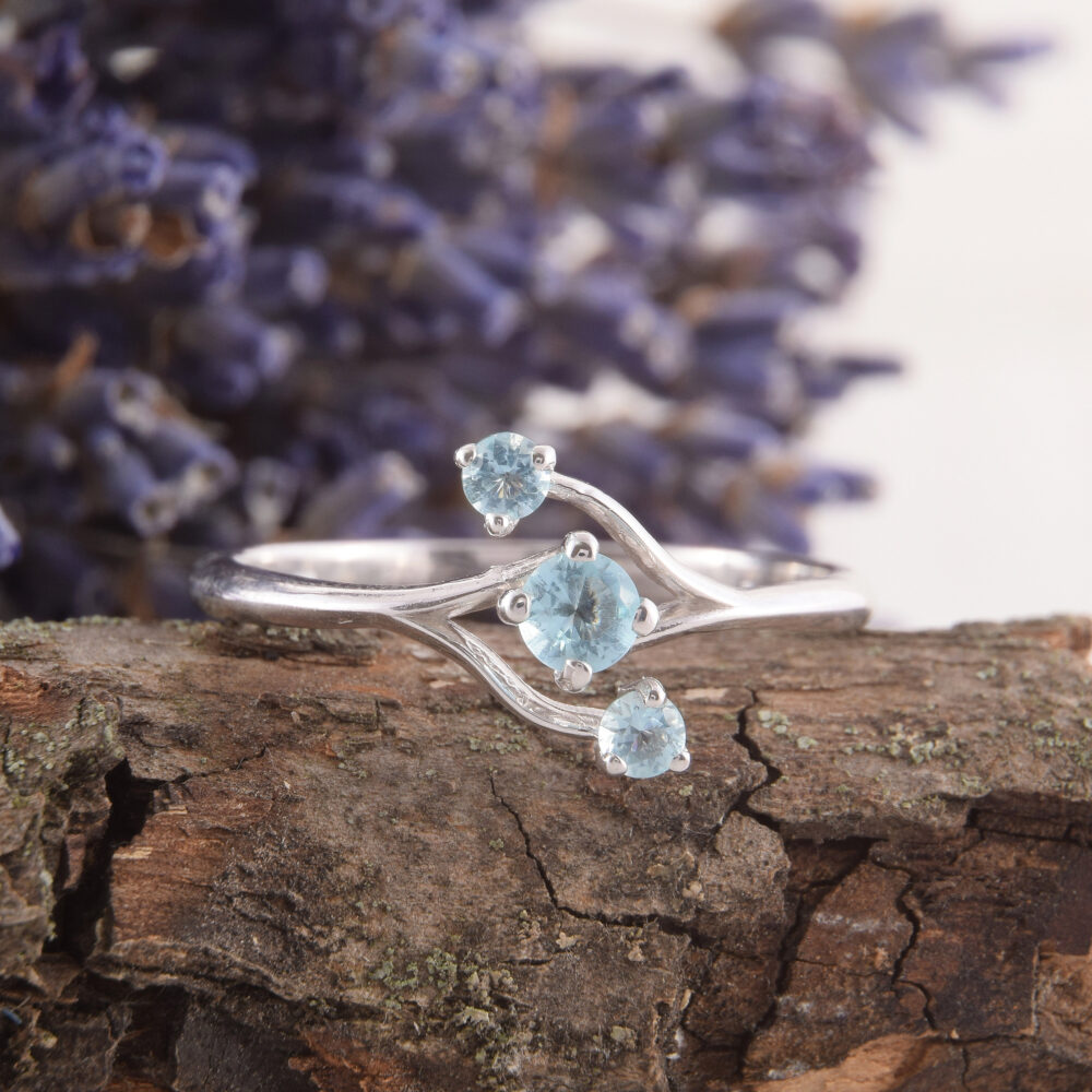 Three Stone Womens Promise Ring, Topaz Silver Minimalist Ring For Her, Dainty Ring, Blue
