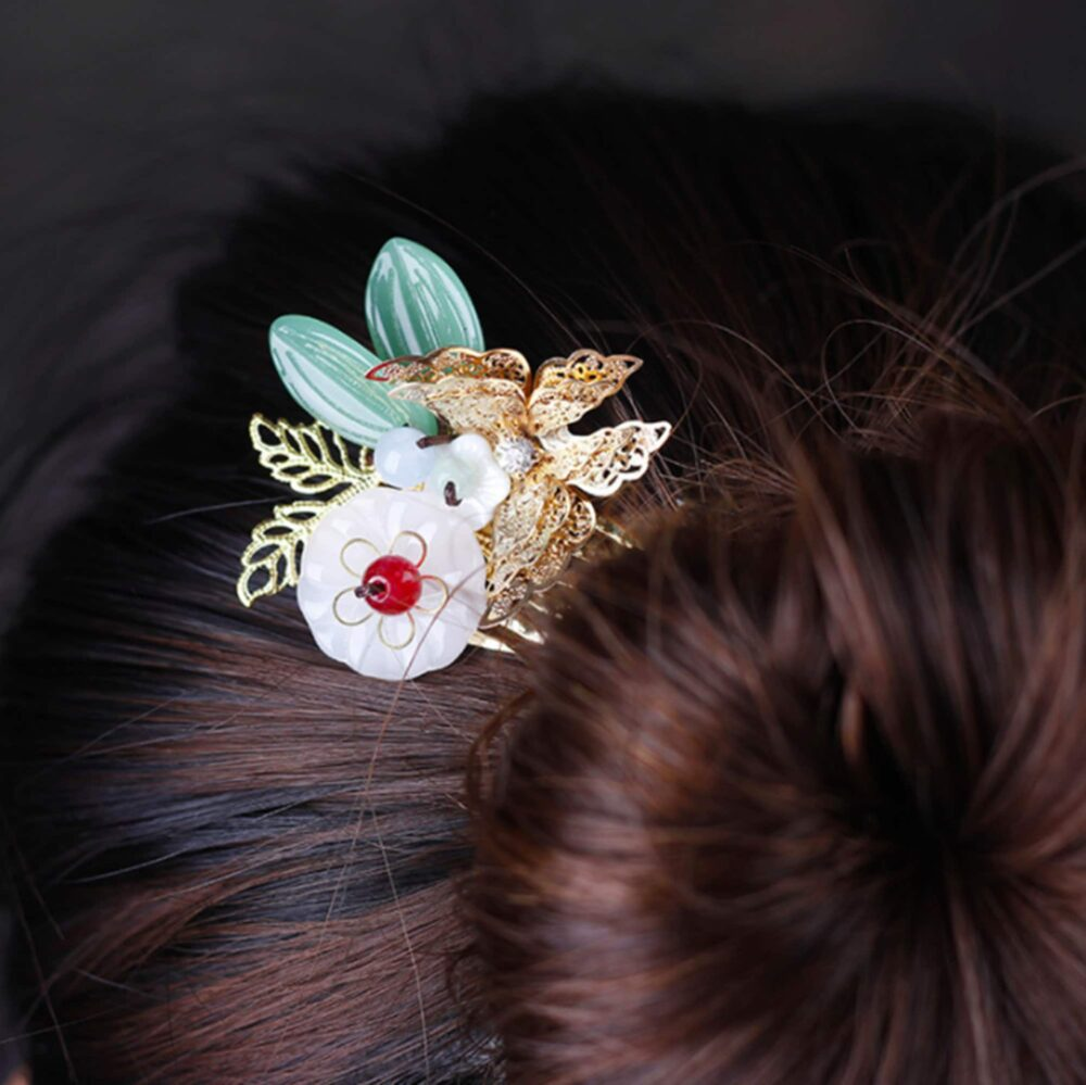 Chinese Style Wedding Hair Stick Jewelry Butterfly Comb