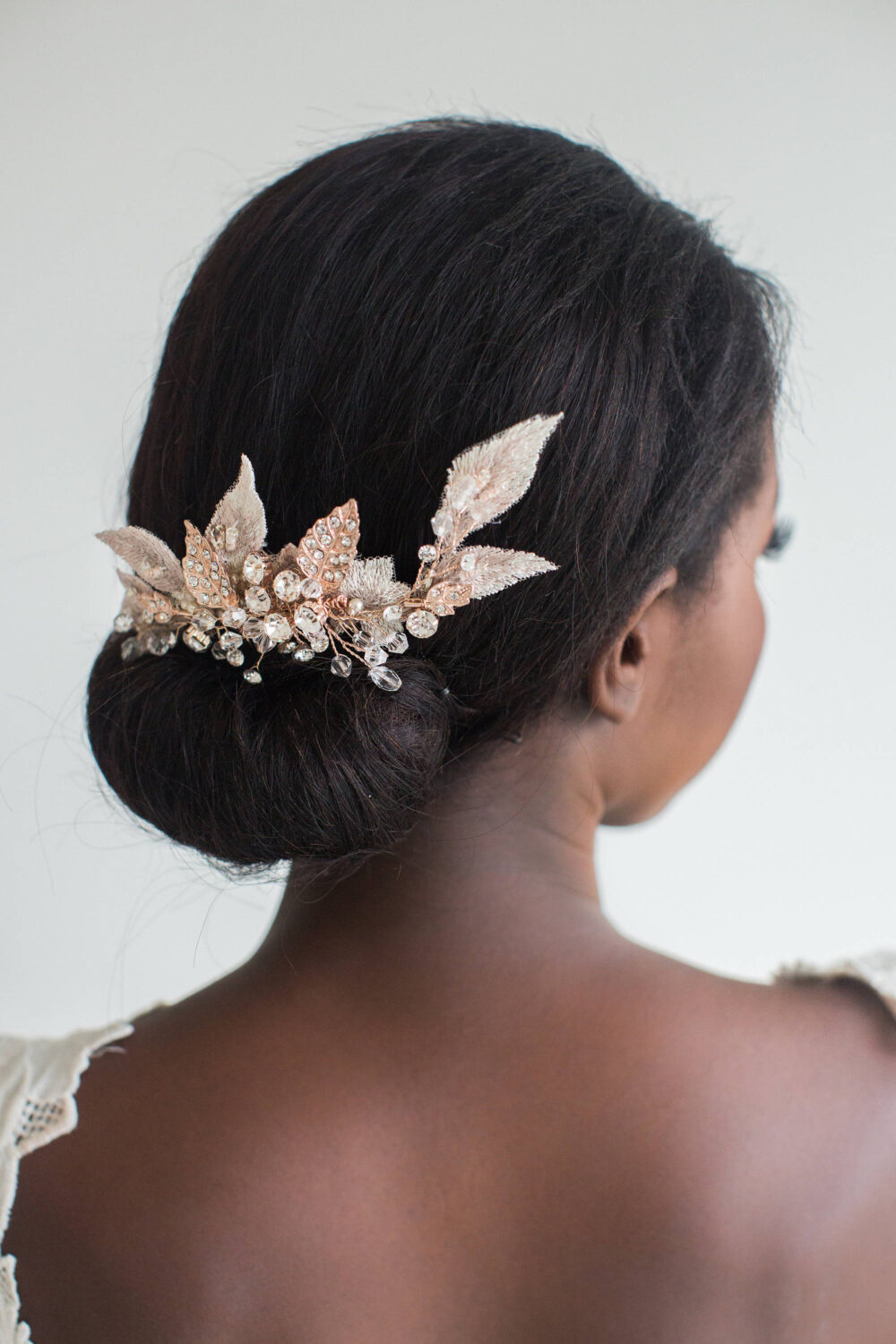 Rose Gold Bridal Comb, Wedding Hair Champagne Lace & Crystal Leaf Headpiece