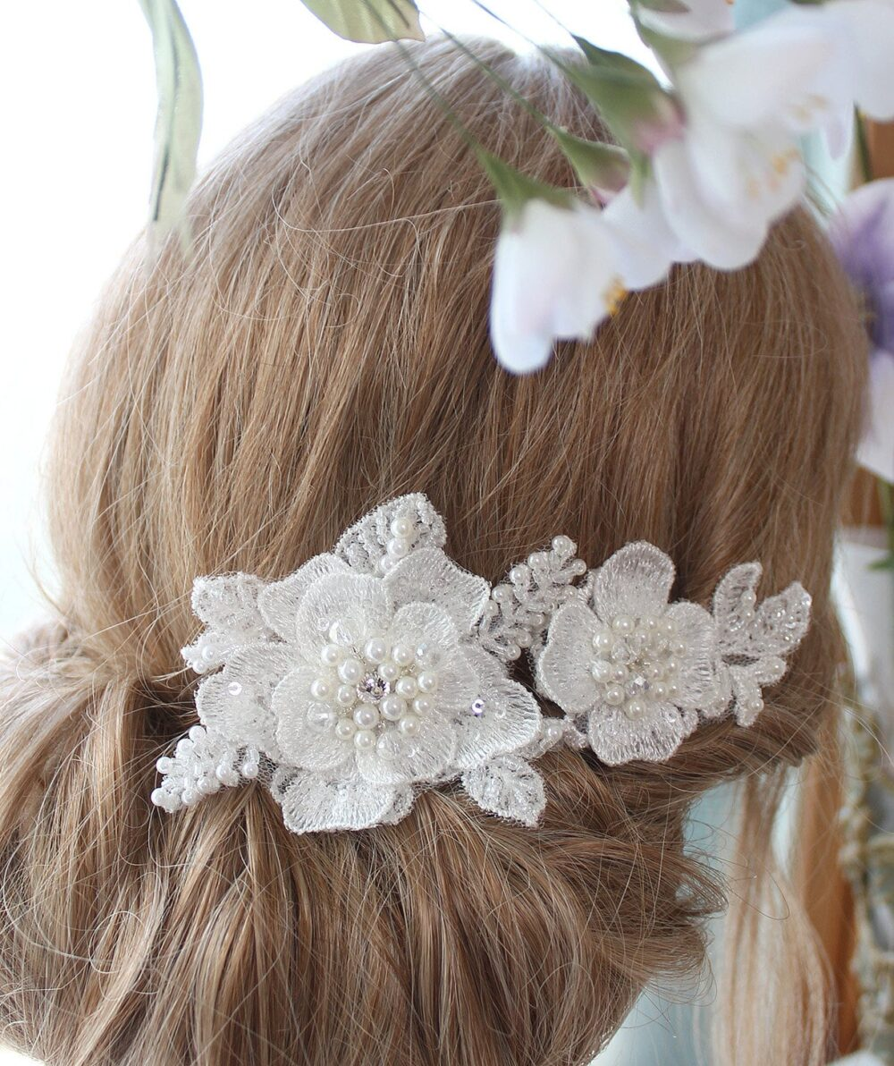 Lace Hair Comb, Bridal Headpiece, Lace Flower Wedding Set Of 2