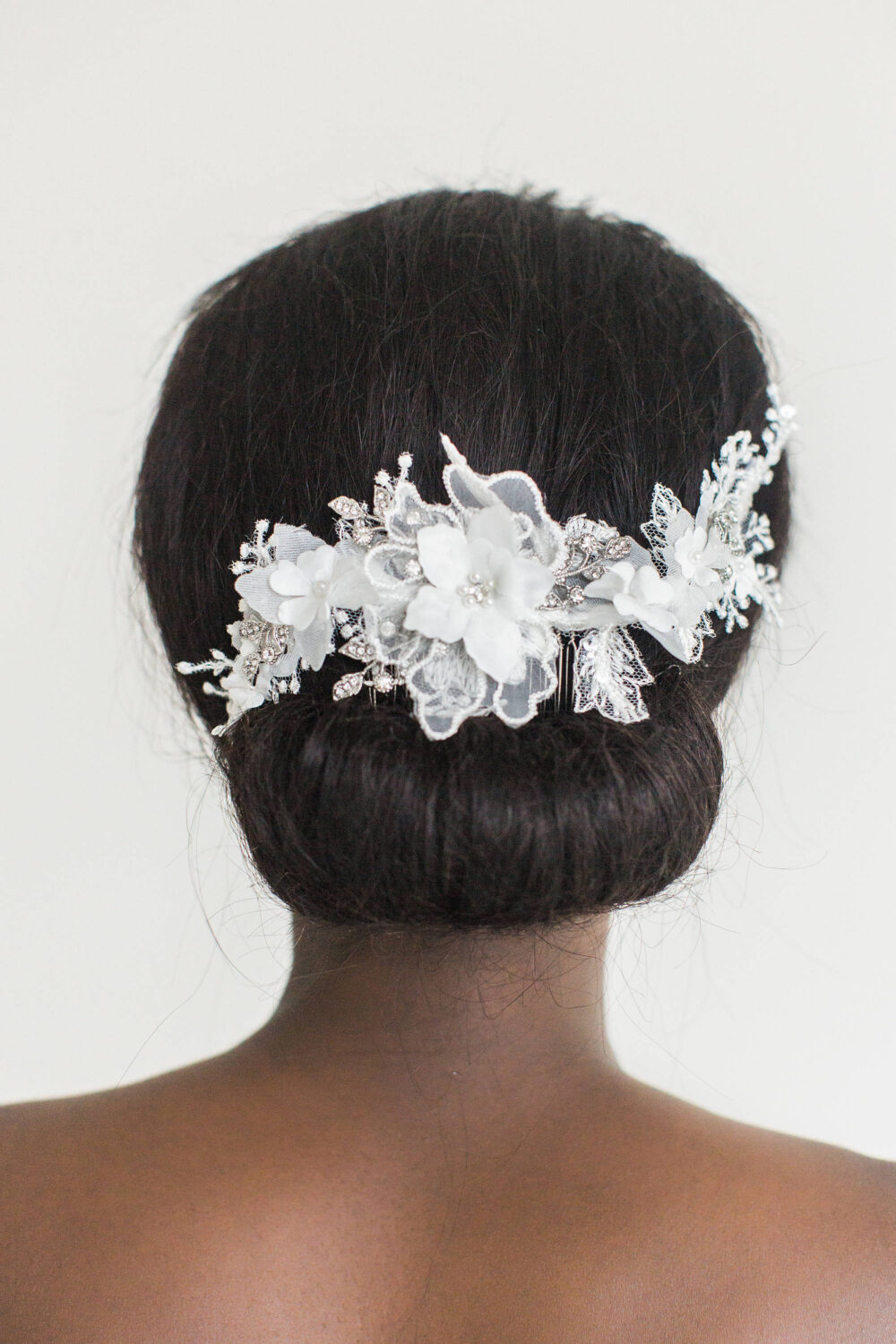 White Lace Bridal Headpiece, Wedding Hair Comb, Flower Comb