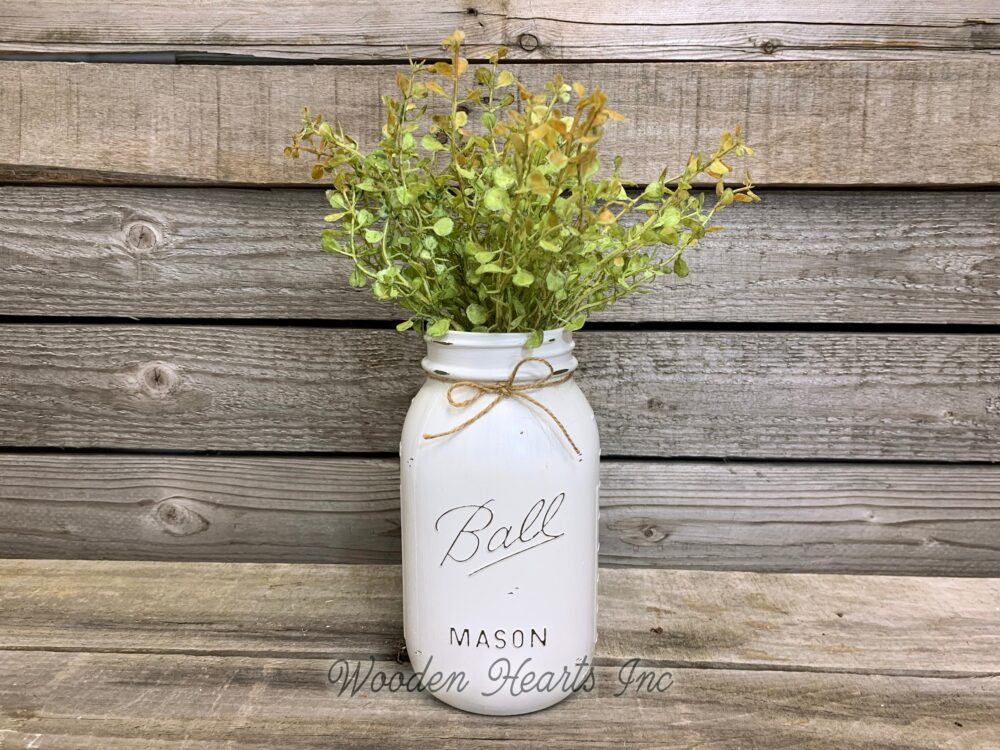 Mason Jar Wedding Table Decor Distressed Ball Quart Painted White Tan Brown Gray Teal Blue Great For Centerpiece   Flower Optional