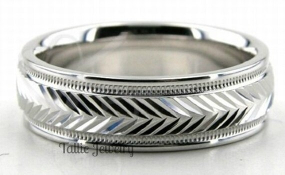 6mm 10K 14K 18K White Gold Mens Wedding Bands, Shiny Finish Rings, Matching His & Hers Rings