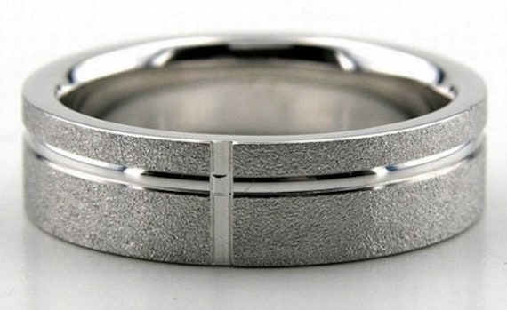 White Gold Mens Wedding Bands, Stone Finish Rings, 6mm 10K 14K 18K Solid His & Hers Rings