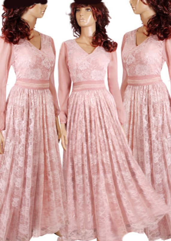 Plus Size Long Bridesmaid Gown, Wedding Party Lace Dress, Blush Pink Formal, Cocktail, Evening, Beach Dress