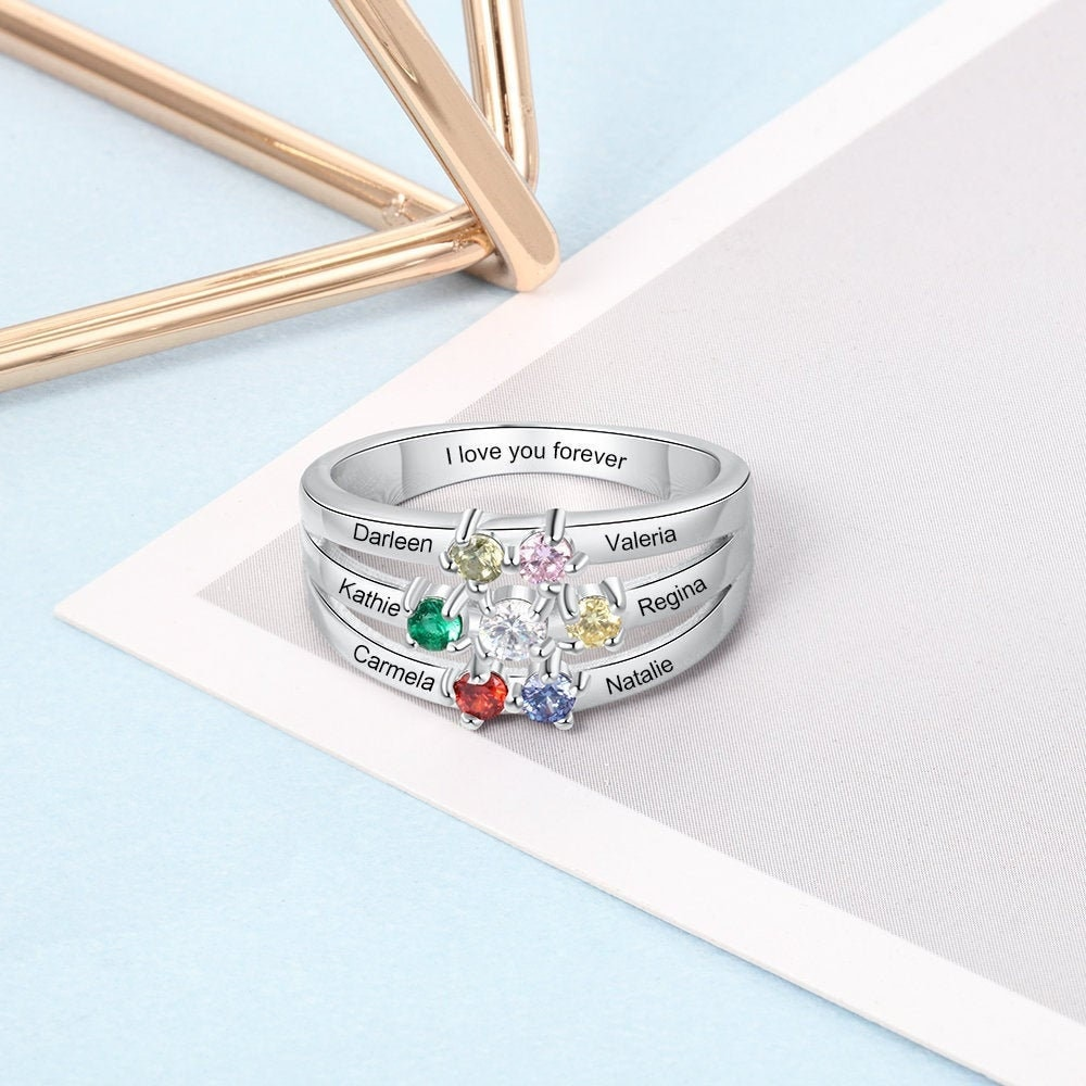 Personalized Birthstone Ring With 6 Names Birthstones, Engraved For Mom, Mother Ring, Custom Family Name in Sterling Silver