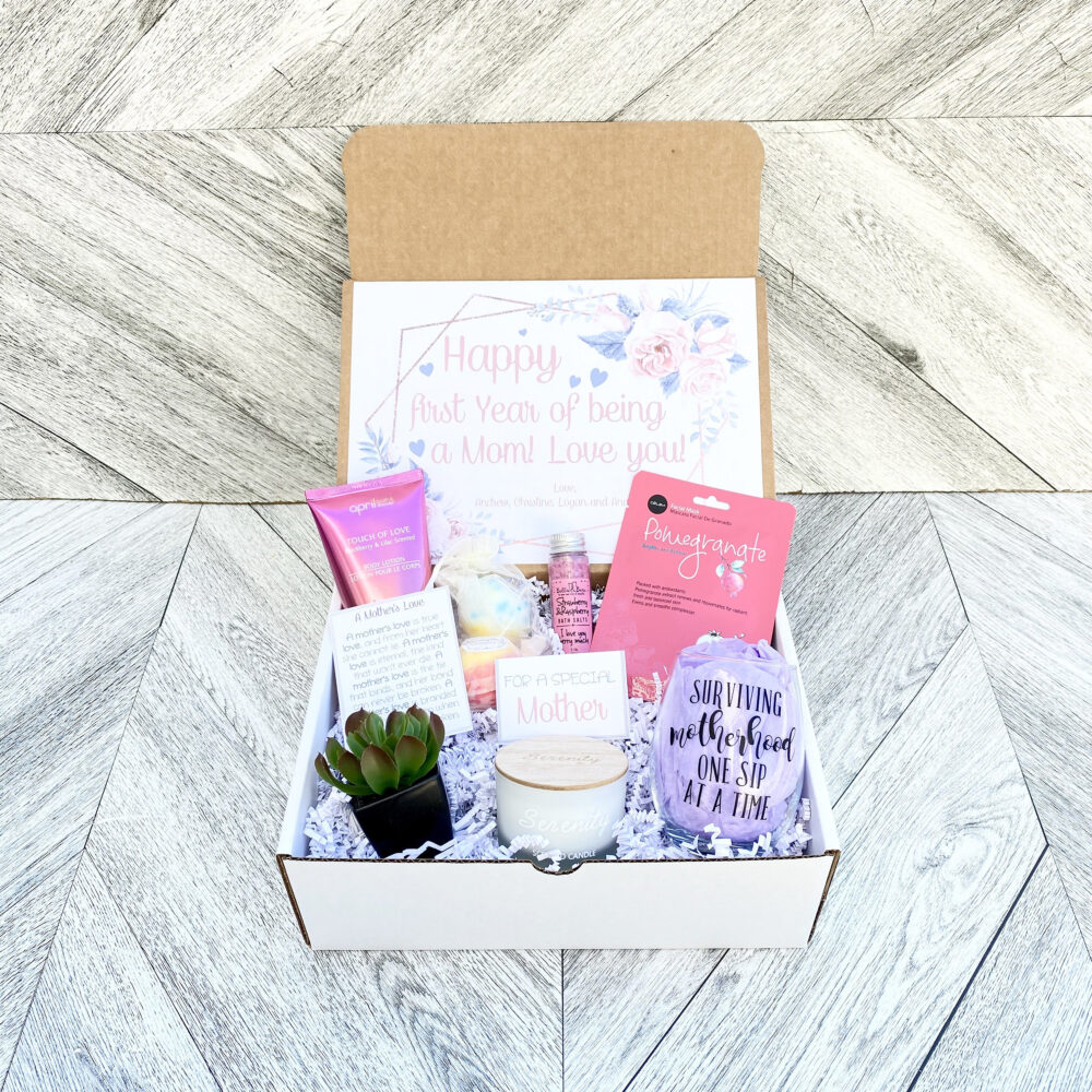 First Mother's Day Gift - Personalized Mom Box Wine Glass Surviving Motherhood