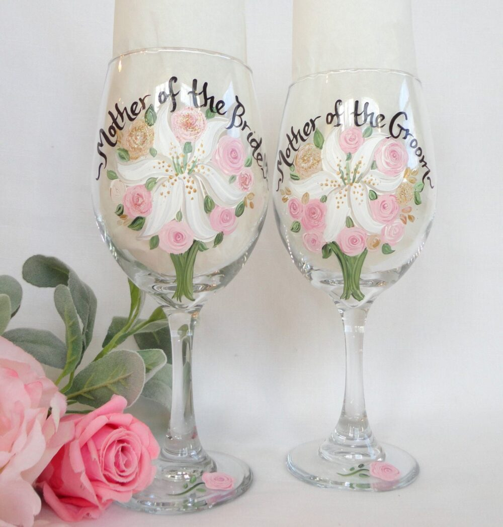 Mother Of The Bride Gifts, Exact Flower Replica, Hand Painted Personalized Flower Bouquet, Groom Wine Glasses, Bridesmaid Gift
