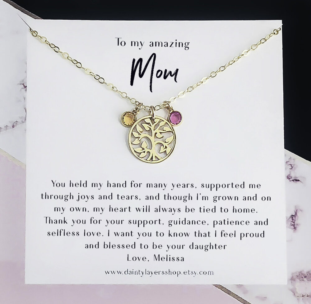 Mom Necklace -Mother - Gift From Daughter Jewelry For Mother's Day Birthstone Women Family Tree