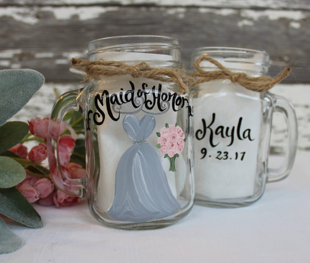 """Hand Painted Bridesmaid Mason Jars, Gifts, Rustic Bridal Party Wine Glasses """"Pick Your Colors"""""""
