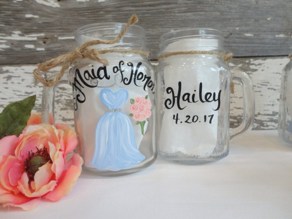 Hand Painted Bridesmaid Mason Jars, Gifts, Rustic Bridal Party Wine Glasses, Pick Your Colors