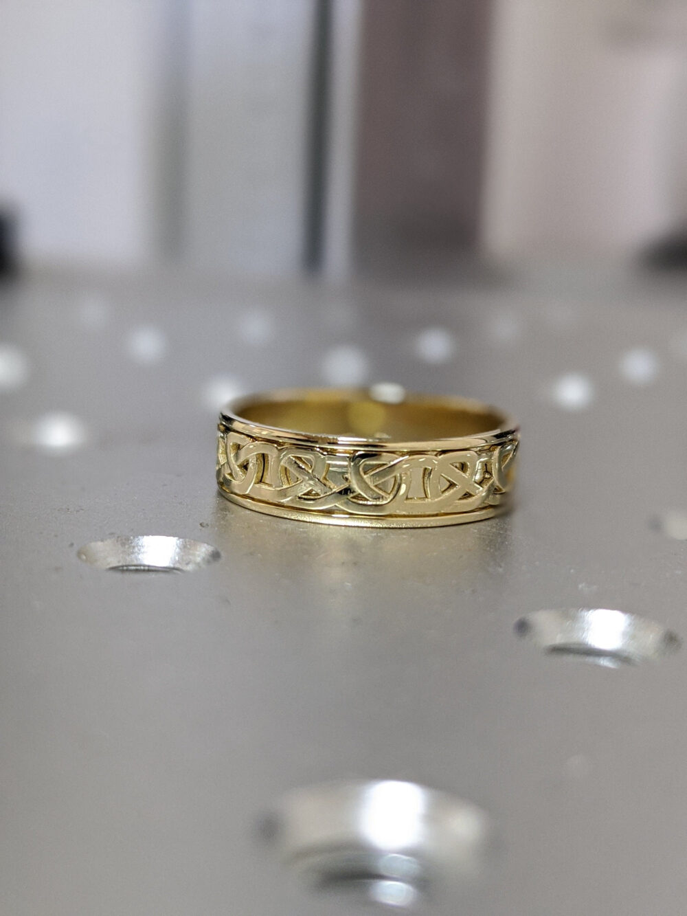 Celtic Yellow Gold Wedding Band in Antique Style, 5mm 6mm Unique Celtic Ring, Filigree Unusual Band, Anniversary Ring
