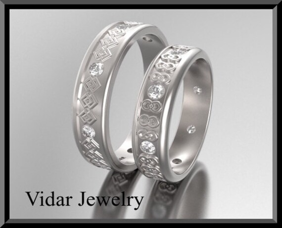 Wedding Band, Ring, His & Hers 14K Matching Bands Set, Unique Diamond Band