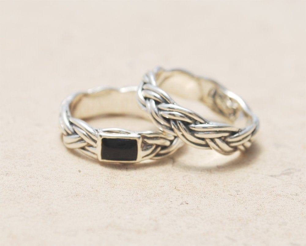 Couples Wedding Bands, His & Hers Matching Rings Set, Bands Sterling Silver & Onyx Ring
