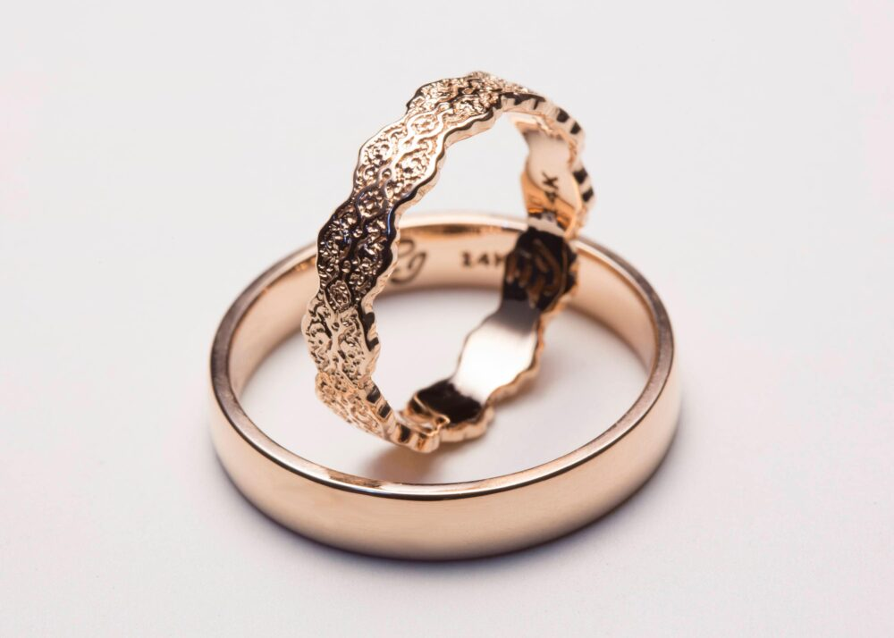 Rose Gold His & Hers Wedding Bands, Ring Set, Comfort Fit, Lace Ring, Set Of Rings