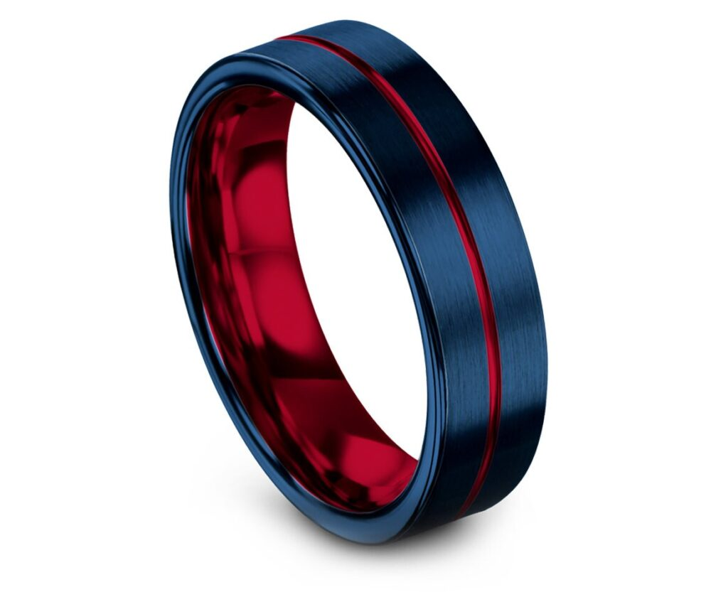 Mens Wedding Band Ring Blue, Red Tungsten Set, His & Hers, Thin Line, Center Engraving, Women Engagement Gifts, Custom