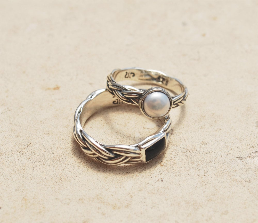 Couples Wedding Bands, His & Hers Bands Set, Matching Rings Personalized
