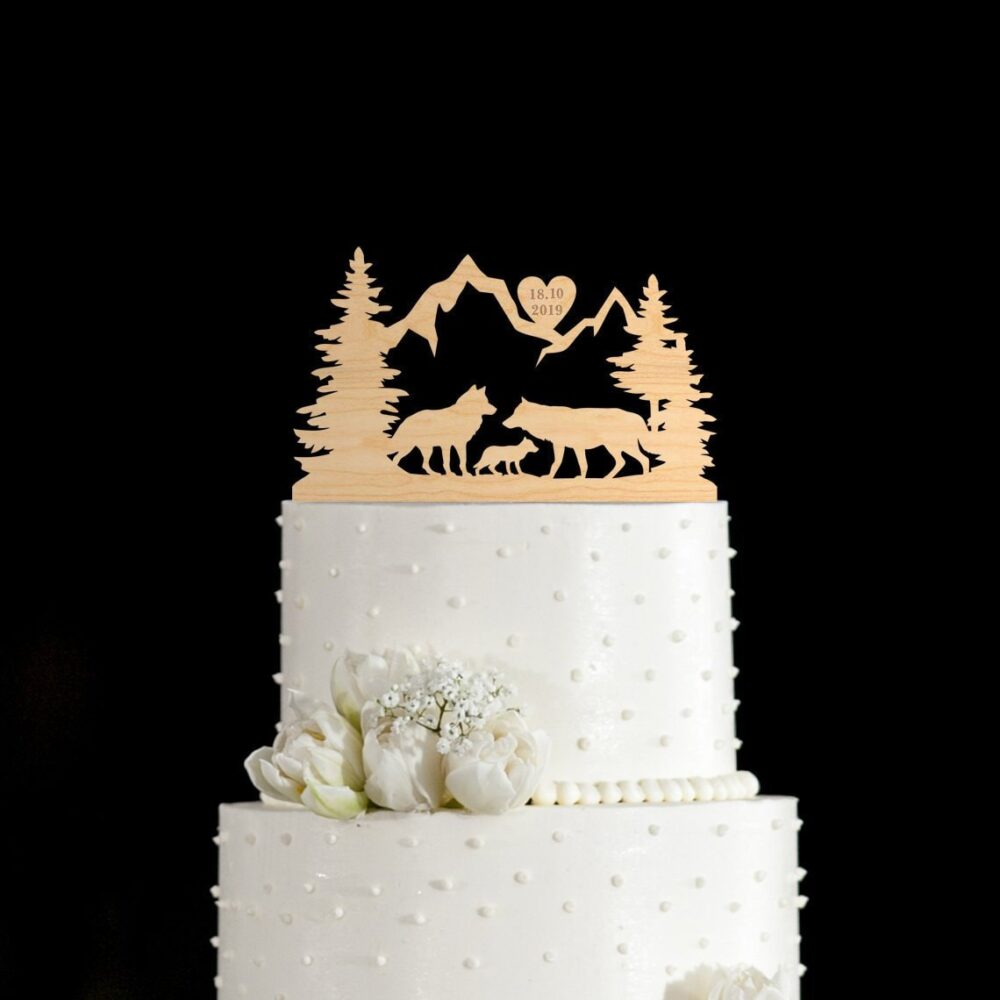Wolf Wedding Cake Topper, Wolf Topper, Wolves Topper, Cake Toppers For Wedding, Wedding Topper, Cake Topper Wedding, 902