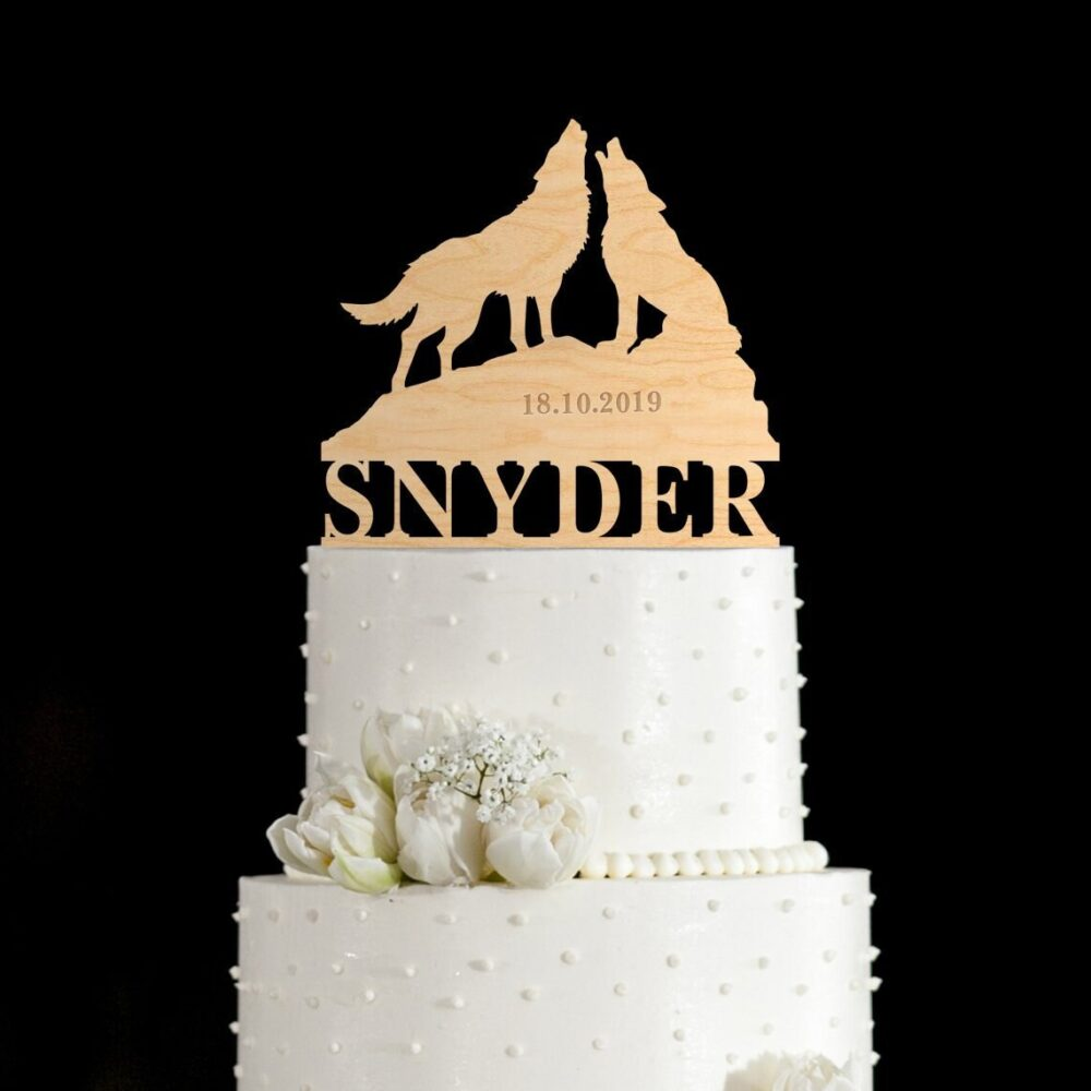 Wolf Wedding Cake Topper, Wolf Topper, Wolves Topper, Cake Toppers For Wedding, Wedding Topper, Cake Topper Wedding, 899