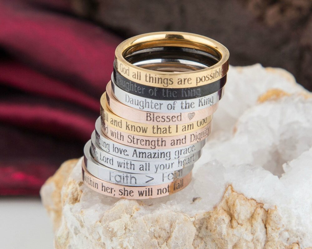 Personalized Bible Verse Ring, Religious Jewelry, Christian Faith Message Skinny Psalm Mom, Goddaughter, Daughter Ring