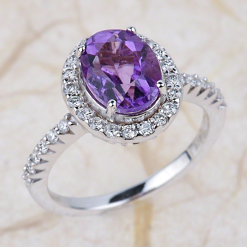 Amethyst Engagement Ring in 14K White Gold/Oval