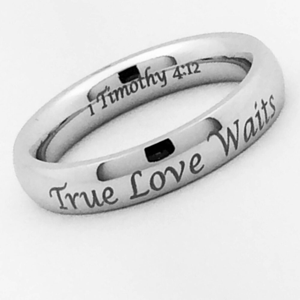 5mm Cobalt Wedding Ring, Personalized Custom Engrave Classic Dome Band Bride & Groom Ring