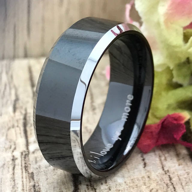 Cobalt Wedding Ring, Personalized Engrave Black Enamel Plated Band , Cobalt Chrome Father's Day Gift