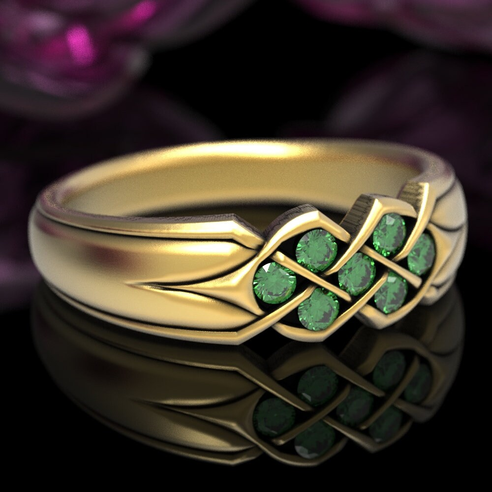 Emerald Wedding Band, Celtic Knot Ring, Gold Irish Infinity Unique Ring in Or Platinum Cr-771