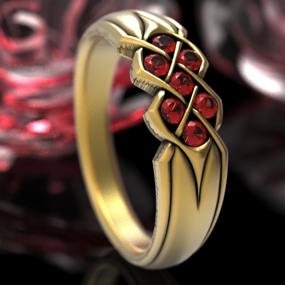 Ruby Wedding Band, Celtic Infinity Ring, Knot Unique Gold Ring in Or Platinum Cr-771