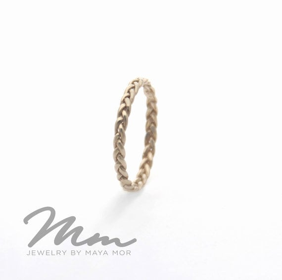 Gold Celtic Knot Ring, Wedding Band, White Solid Band Thin Dainty Ring For Women