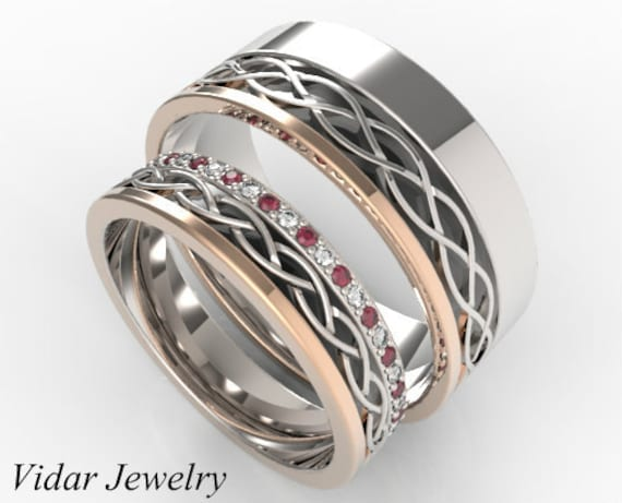 Matching Celtic Rings, Wedding Band, Ring, Ring Set His & Hers