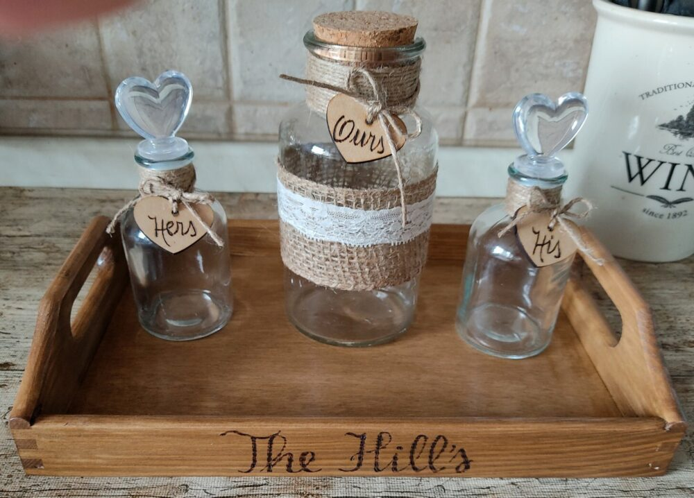 Rustic Wedding Unity Sand Ceremony Set. Personalized Shabby Chic Family 2, 3, 4 Members