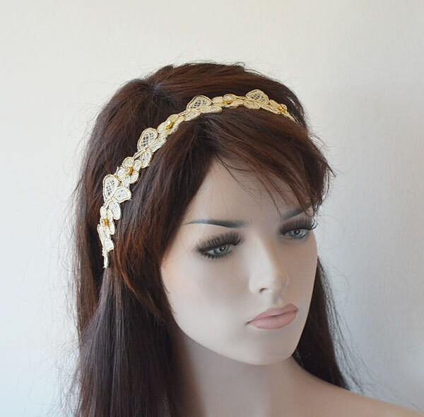 Gold Lace Headband, Bridal Head Piece, Wedding Hair Accessories, Hairpiece For Wedding, Halo, Forehead Band, Vine