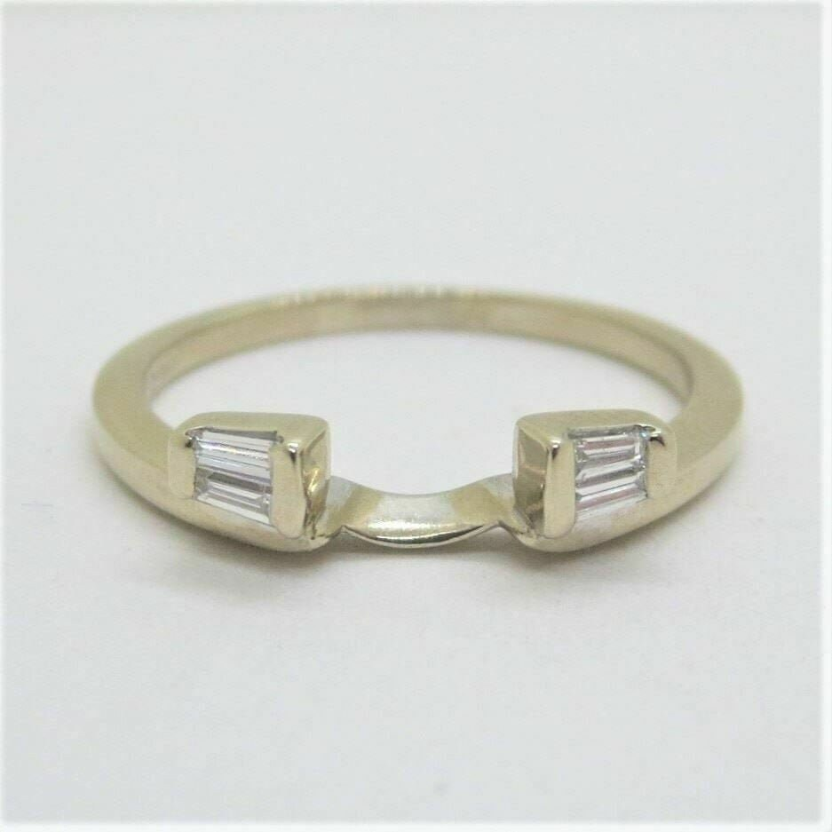 0.50 Ct Baguette Shape Simulated Diamond Ring Wrap Enhancer Guard Band 14K Yellow Gold Finish in 925 Sterling Silver