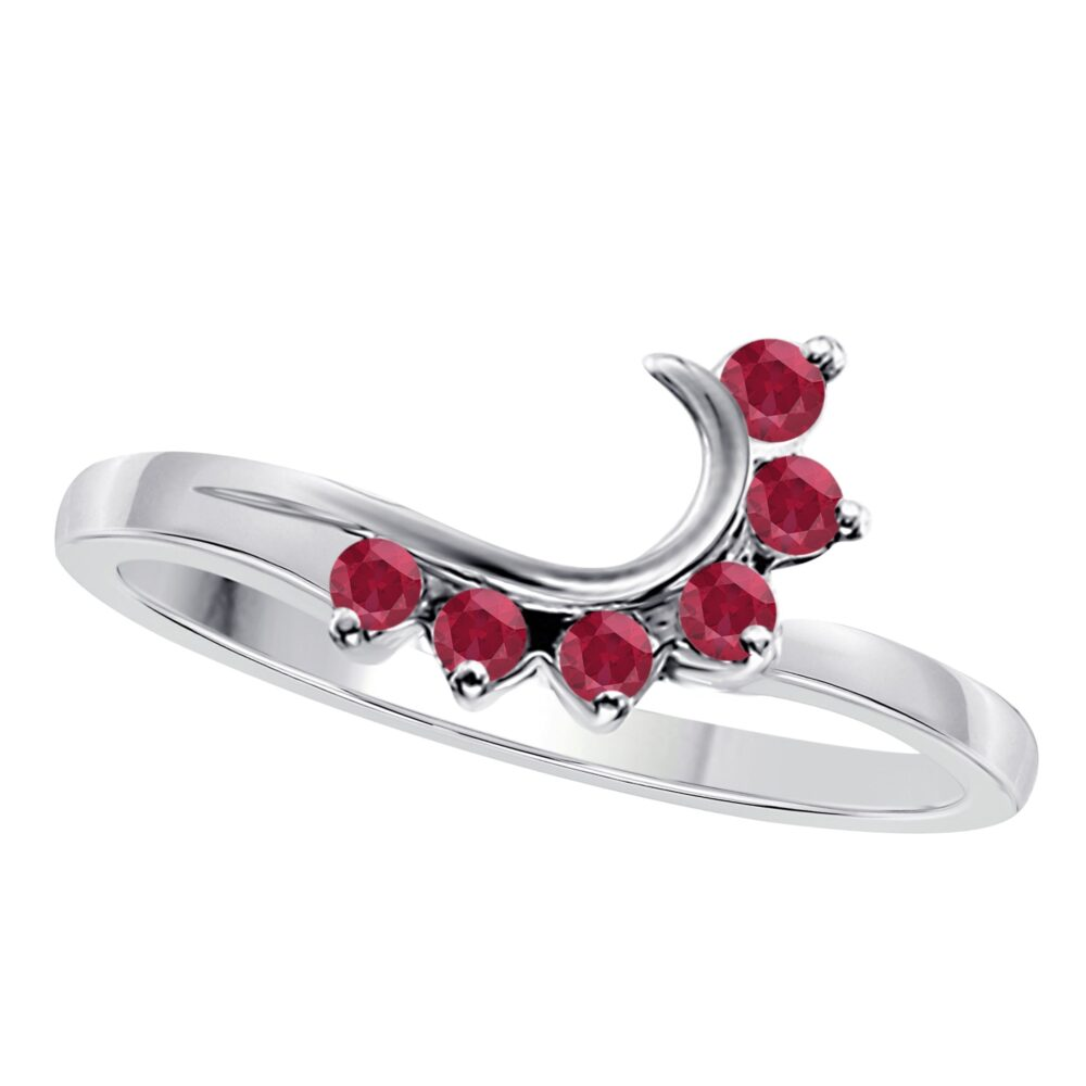 14K White Gold Plated Silver Round Cut Red Ruby Wedding & Engagement Band Enhancer Guard Ring For Women's