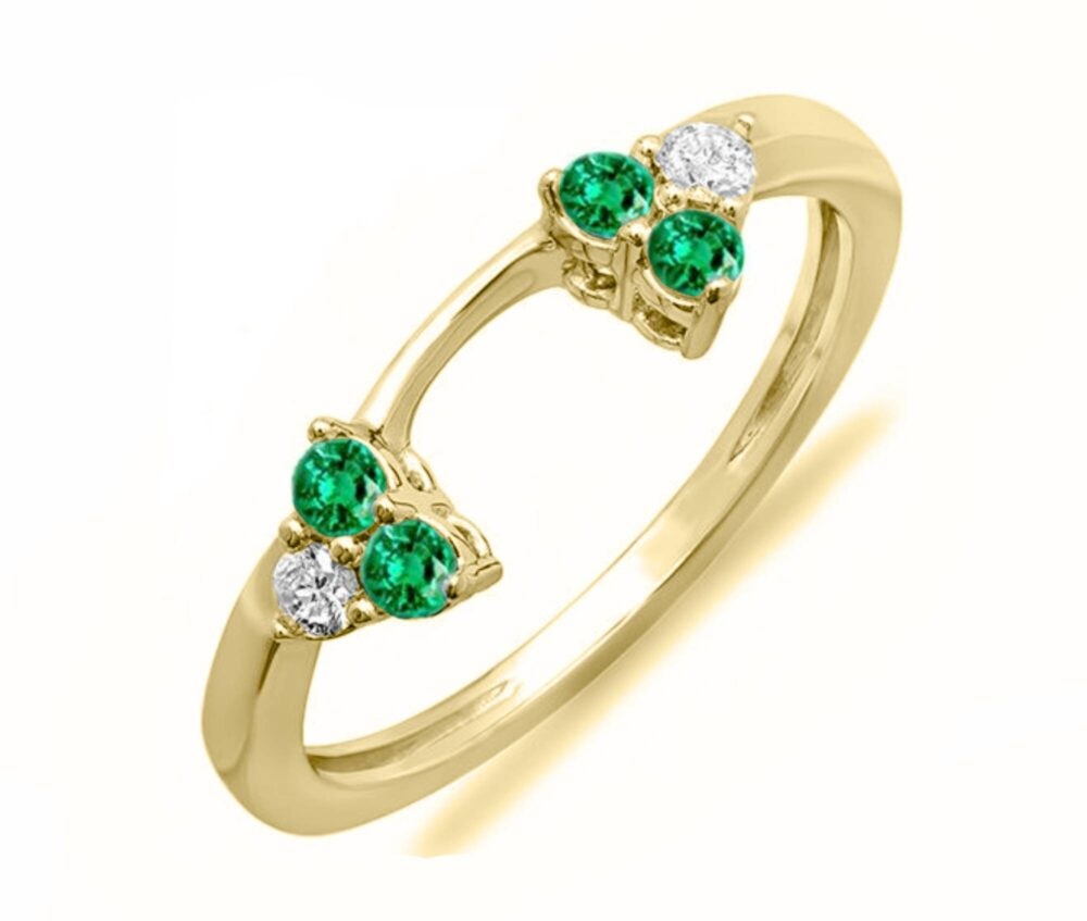 Yellow Gold Plated Round Cut Green Emerald & Simulated Diamond Solitaire Wedding Band Enhancer Guard Ring For Women's Free Shipping