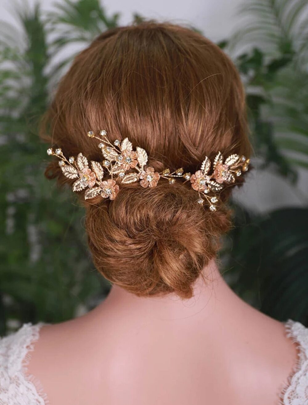 Gold Hair Pins Set Of 3 , Wedding Comb Clips For Bride Tiara Crown Boho Accessories Floral Leaf Hairpiece
