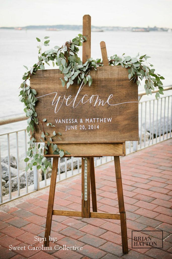 Wooden Wedding Welcome Sign With Names & Date | Rustic Signage Wood Signs Decor - Ws-16
