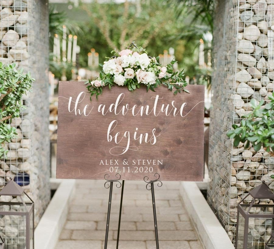 Wooden Wedding Welcome Sign The Adventure Begins | Rustic Signage Wood Signs Decor - Scc-112