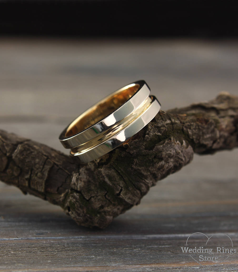 Modern Strong 14K Solid Two Tone Gold Wedding Band For Men & Women in Width 6mm