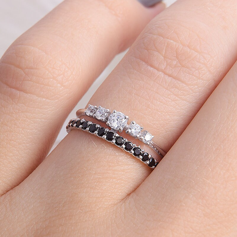 Unique Womens Wedding Band, Sterling Silver Band For Her, Cz Minimalist Dainty