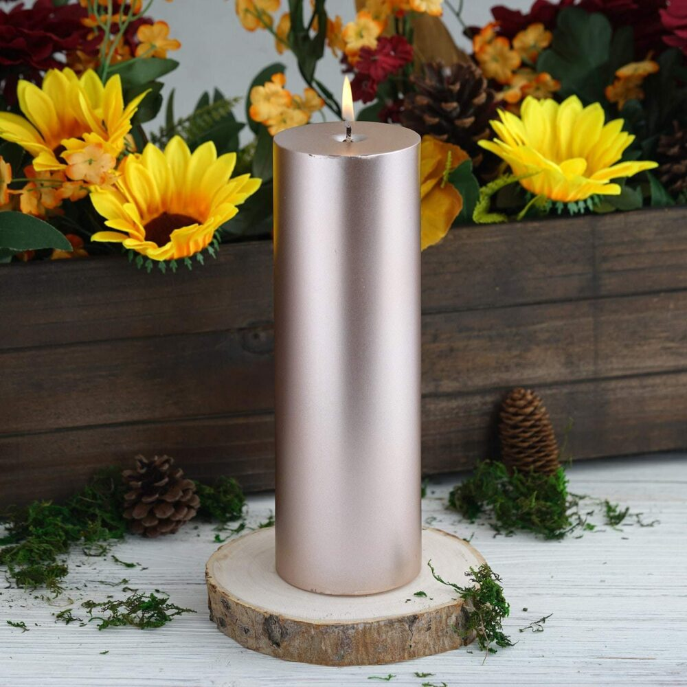 """9"""" Gold Dripless Unscented Pillar Candle, Candle Pillars For Table Decor, Home Gift, Party Favors"""
