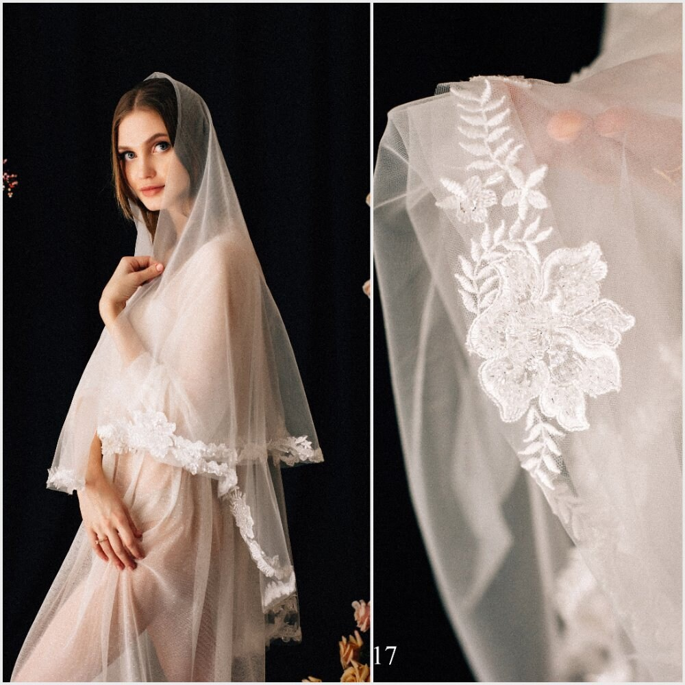 Lace Wedding Veil Marceline, Two-Tier Veil With Crystals, Cathedral , Tulle Cathedral Length, Chapel Comb