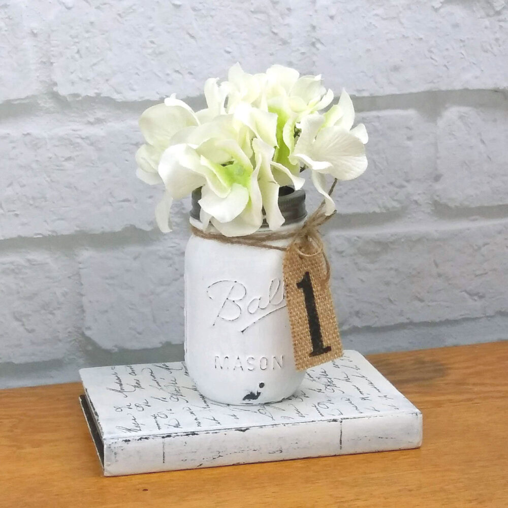 Rustic Wedding Table Number Centerpiece, Painted Ball Mason Jar With Burlap Tag, Photo Prop, Country Themed Event, Farmhouse Style