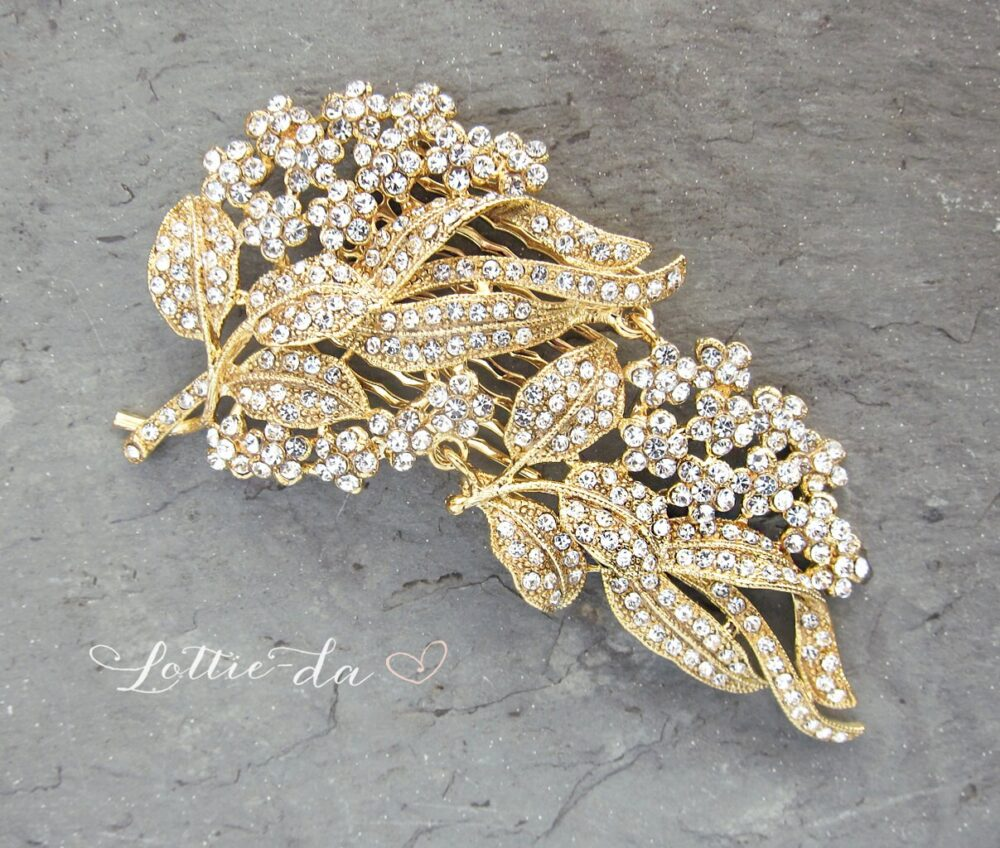 """Gold Vintage Style Wedding Hair Comb, Floral Comb, Leaf Bridal Haircomb, Accessory, Comb - """"Ava"""""""