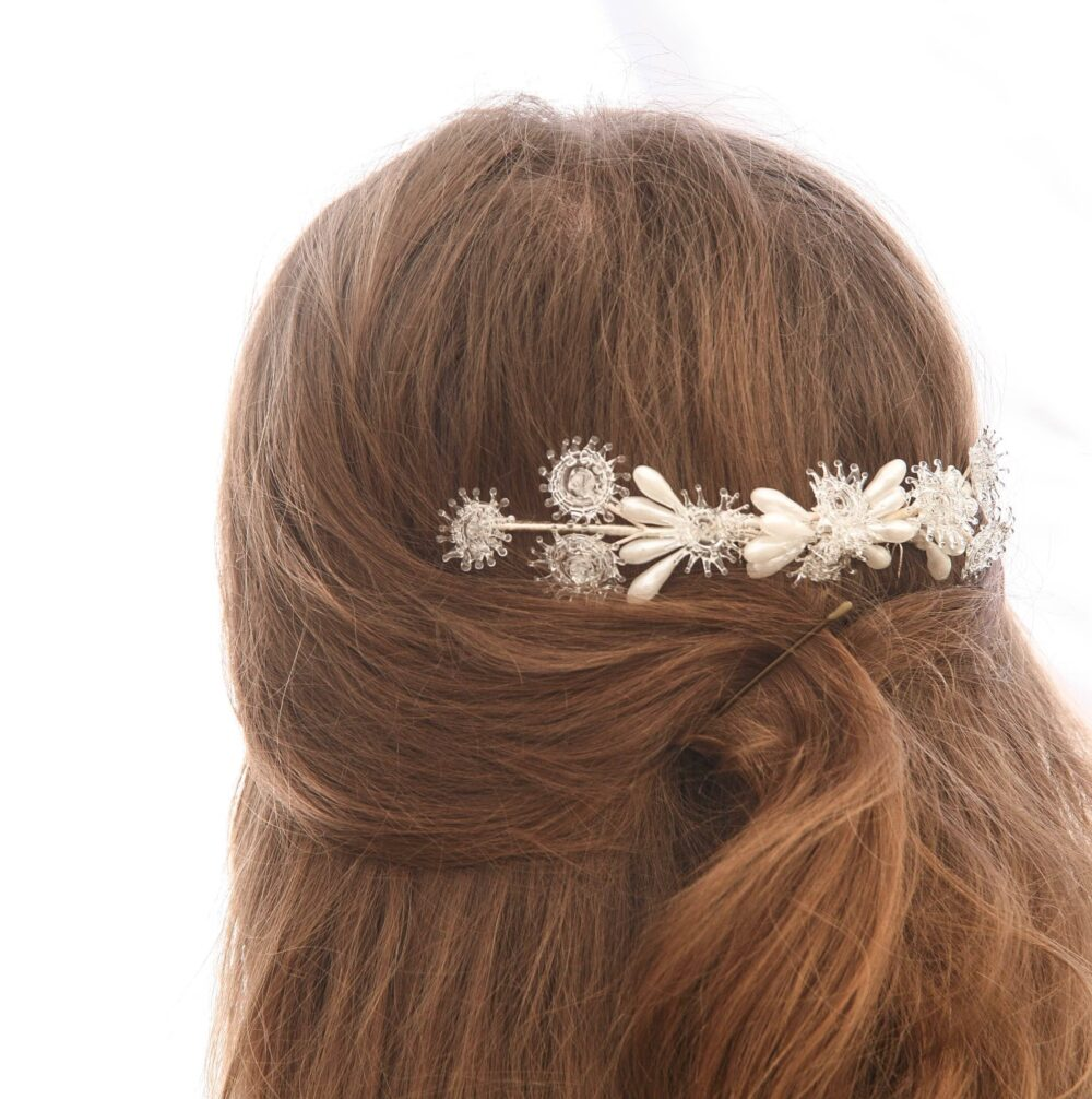 Vintage Wedding Hair Comb Glass & Pearl Bridal Made From Flowers Wax Pips Headpiece